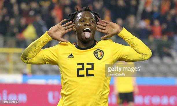 Michy Batshuayi of Belgium celebrates his goal during the international friendly match between Belgium and Saudi Arabia on March 27 2018 in Brussel...