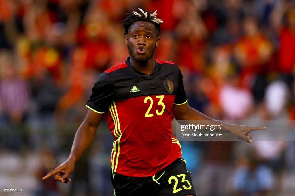Michy Batshuayi of Belgium celebrates scoring his teams first goal of the game during the International Friendly match between Belgium and Czech Republic at Stade Roi Baudouis on June 5, 2017 in Brussels, Belgium.