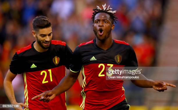 Michy Batshuayi of Belgium celebrates scoring his teams first goal of the game during the International Friendly match between Belgium and Czech...