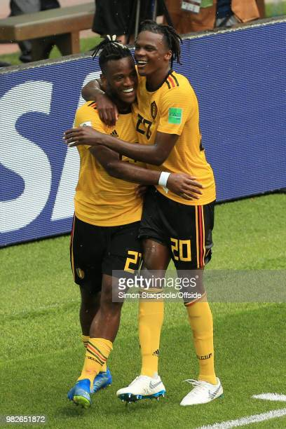 Michy Batshuayi of Belgium celebrates with teammate Dedryck Boyata of Belgium after scoring their 5th goal during the 2018 FIFA World Cup Russia...