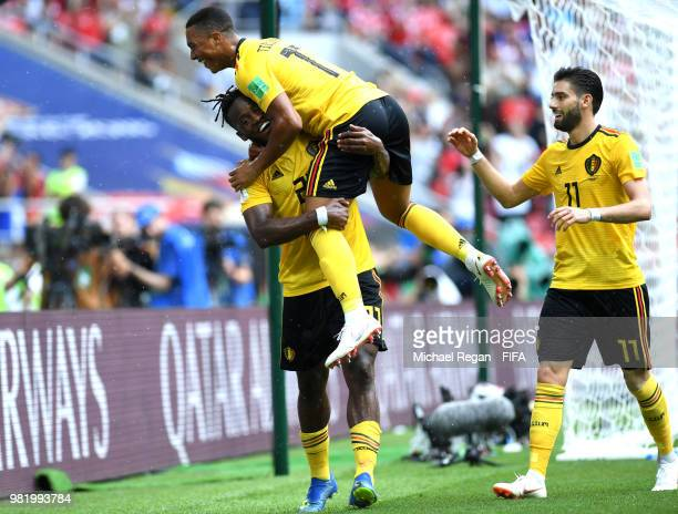 Michy Batshuayi of Belgium celebrates with teammate Youri Tielemans of Belgium after scoring his team's fifth goal during the 2018 FIFA World Cup...