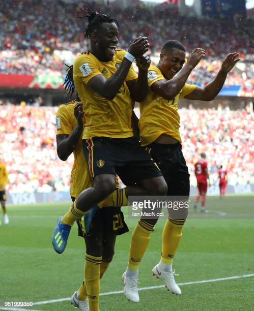 Michy Batshuayi of Belgium celebrates with Youri Tielemans of Belgium after he scores his team's fifth goal during the 2018 FIFA World Cup Russia...