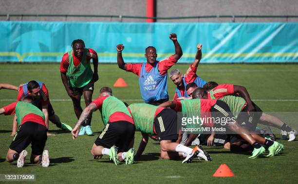Michy Batshuayi of Belgium during a training session of the Belgian national soccer team The Read Devil as part of preparations for the upcoming UEFA...