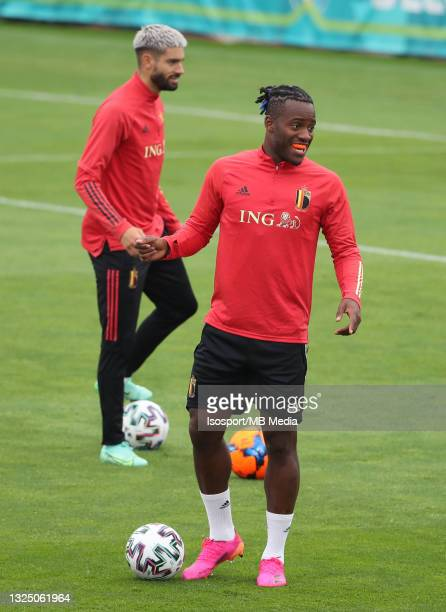 """Michy Batshuayi of Belgium during a training session of the Belgian national soccer team """" The Red Devils """" ahead of the UEFA Euro 2020 Round of 16..."""