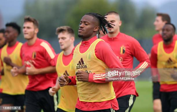 """Michy Batshuayi of Belgium during a training session of the Belgian national soccer team """" The Red Devils """" ahead of the upcoming FIFA World Cup..."""