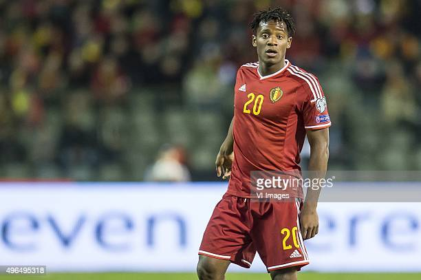 Michy Batshuayi of Belgium during the UEFA EURO 2016 qualifying match between Belgium and Cyprus on March 28 2015 at the Koning Boudewijn stadium in...
