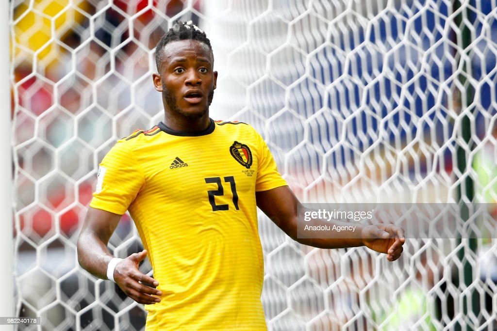 Michy Batshuayi of Belgium in action during the 2018 FIFA World Cup Russia group G match between Belgium and Tunisia at Spartak Stadium on June 23, 2018 in Moscow, Russia.