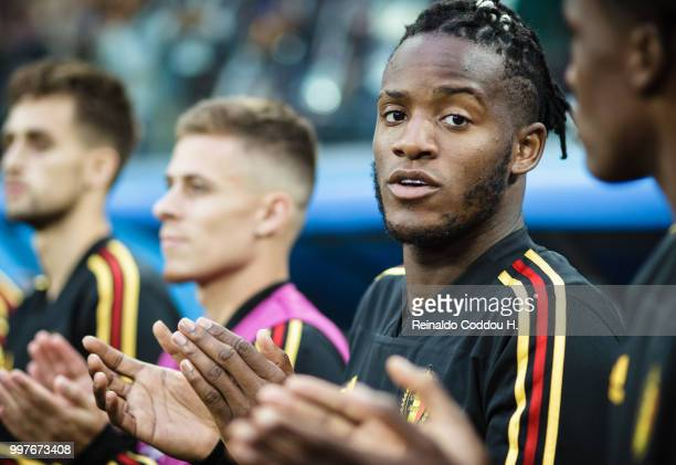 Michy Batshuayi of Belgium is seen prior to the 2018 FIFA World Cup Russia Semi Final match between Belgium and France at Saint Petersburg Stadium on...