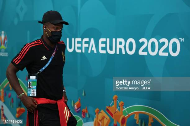 Michy Batshuayi of Belgium is seen wearing a face mask as he arrives at the stadium prior to the UEFA Euro 2020 Championship Group B match between...