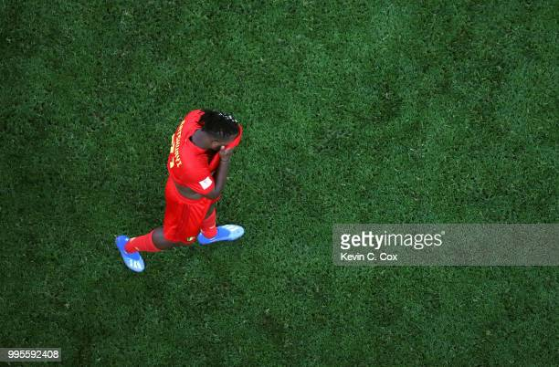 Michy Batshuayi of Belgium looks dejected following his sides defeat in the 2018 FIFA World Cup Russia Semi Final match between Belgium and France at...