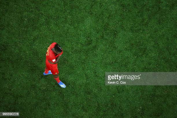 Michy Batshuayi of Belgium looks dejected following their sides defeat in the 2018 FIFA World Cup Russia Semi Final match between Belgium and France...