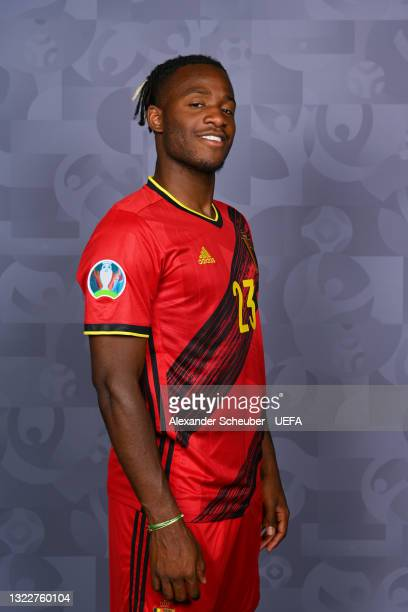 Michy Batshuayi of Belgium poses during the official UEFA Euro 2020 media access day on June 08, 2021 in Tubize, Belgium.