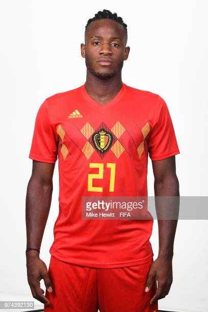 Michy Batshuayi of Belgium poses for a portrait during the official FIFA World Cup 2018 portrait session at the Moscow Country Club on June 14 2018...