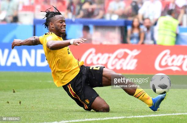 Michy Batshuayi of Belgium scores his team's fifth goal during the 2018 FIFA World Cup Russia group G match between Belgium and Tunisia at Spartak...
