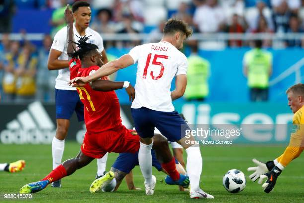 Michy Batshuayi of Belgium shoots the ball during the 2018 FIFA World Cup Russia group G match between England and Belgium at Kaliningrad Stadium on...