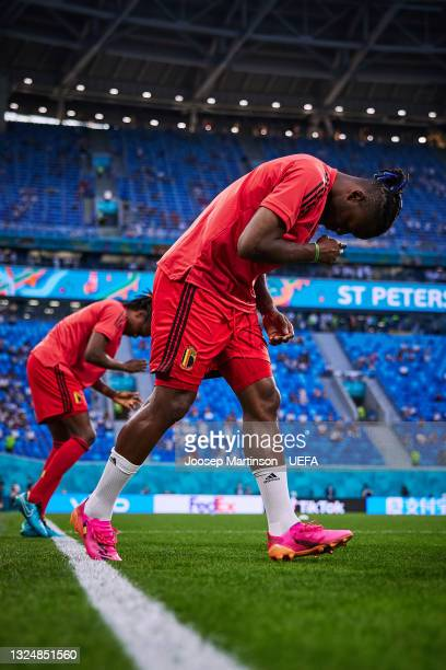 Michy Batshuayi of Belgium walks on to the pitch ahead of the UEFA Euro 2020 Championship Group B match between Finland and Belgium at Saint...