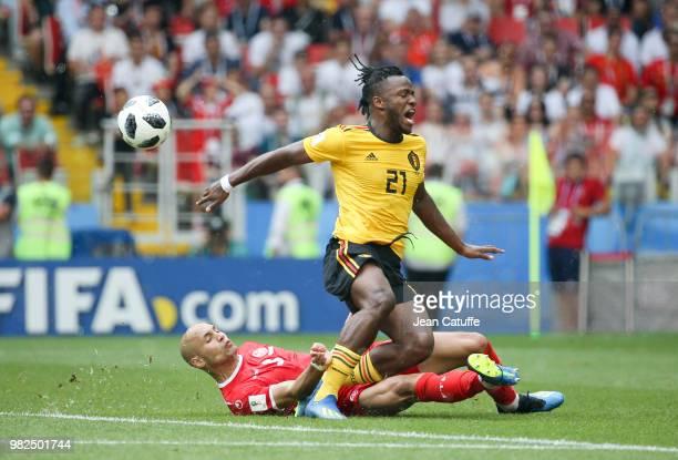 Michy Batshuayi of Belgium Yohan Benalouane of Tunisia during the 2018 FIFA World Cup Russia group G match between Belgium and Tunisia at Spartak...