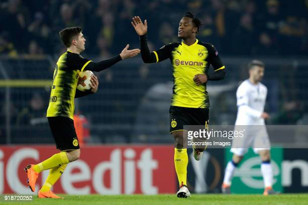 Michy Batshuayi of Borussia Dortmund celebrates 22 with Christian Pulisic of Borussia Dortmund during the UEFA Europa League match between Borussia...