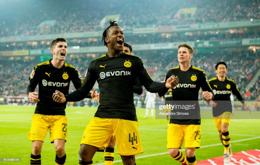 Michy Batshuayi of Borussia Dortmund celebrates scoring the goal to the 1:2 during the Bundesliga match between 1. FC Koeln and Borussia Dortmund at the RheinEnergieStadion on February 02, 2018 in Cologne, Germany.