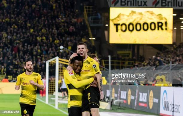Michy Batshuayi of Borussia Dortmund celebrates scoring the goal to the 21 during the Bundesliga match between Borussia Dortmund and Eintracht...