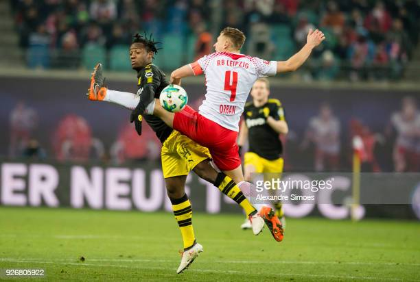 Michy Batshuayi of Borussia Dortmund in action during the Bundesliga match between RB Leipzig and Borussia Dortmund at the Red Bull Arena on March 03...