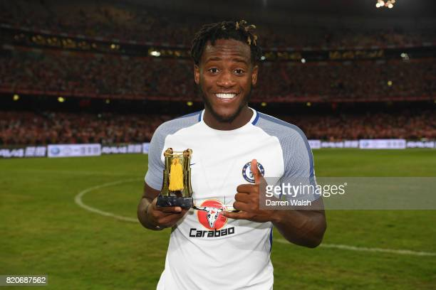 Michy Batshuayi of Chelsea after being named man of the match after a friendly match between Chelsea and Arsenal at Birds Nest on July 22 2017 in...