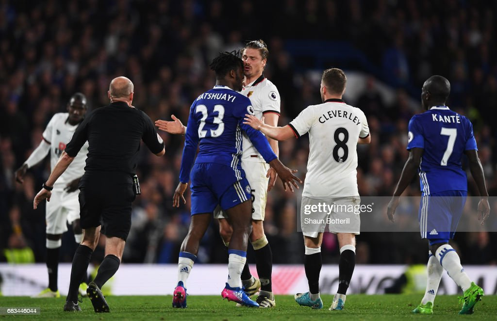 Michy Batshuayi of Chelsea and Sebastian Prodl of Watford clash during the Premier League match between Chelsea and Watford at Stamford Bridge on May 15, 2017 in London, England.