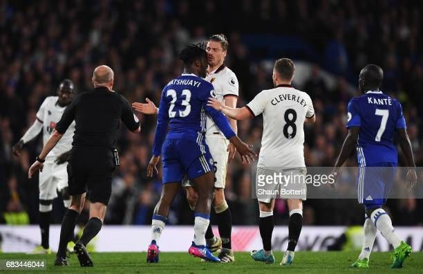 Michy Batshuayi of Chelsea and Sebastian Prodl of Watford clash during the Premier League match between Chelsea and Watford at Stamford Bridge on May...