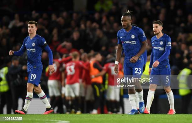 Michy Batshuayi of Chelsea and team mates react after Harry Maguire of Manchester United scores his sides second goal during the Premier League match...