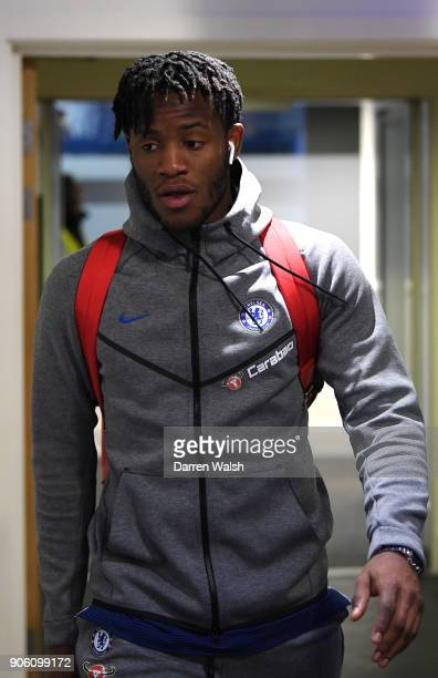 Michy Batshuayi of Chelsea arrives at the stadium prior to The Emirates FA Cup Third Round Replay between Chelsea and Norwich City at Stamford Bridge...