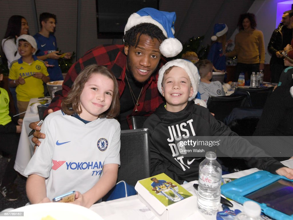 Michy Batshuayi of Chelsea at the Chelsea FC kids Christmas party December 7, 2017 in London, England.