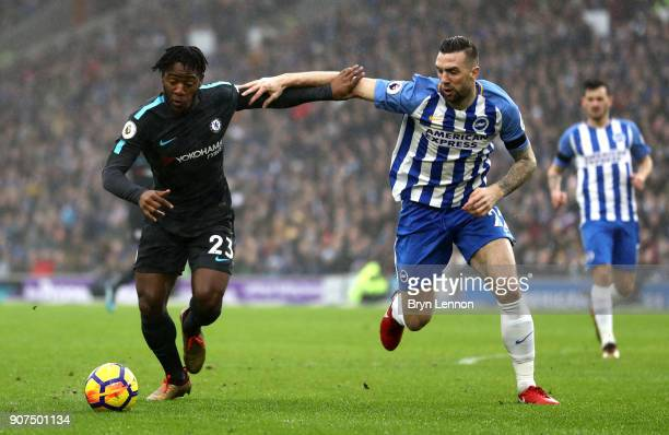 Michy Batshuayi of Chelsea battles with Shane Duffy of Brighton and Hove Albion during the Premier League match between Brighton and Hove Albion and...