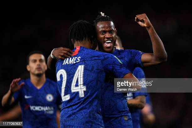 Michy Batshuayi of Chelsea celebrates after he scores his sides second goal during the Carabao Cup Third Round match between Chelsea FC and Grimsby...