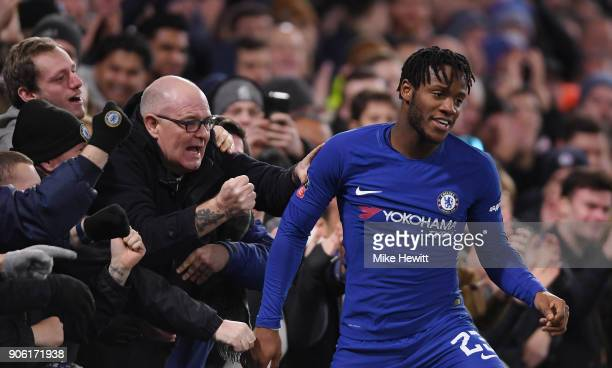 Michy Batshuayi of Chelsea celebrates after scoing his sides first goal during The Emirates FA Cup Third Round Replay between Chelsea and Norwich...