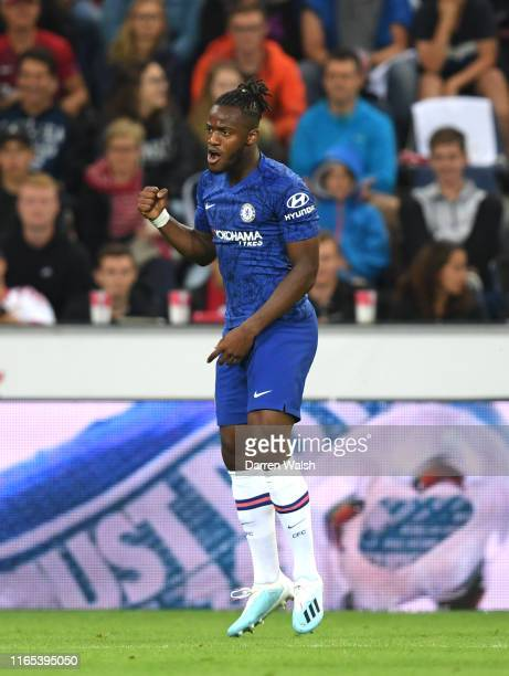 Michy Batshuayi of Chelsea celebrates after scoring his sides fifth goal during the preseason friendly match between RB Salzburg and FC Chelsea at...