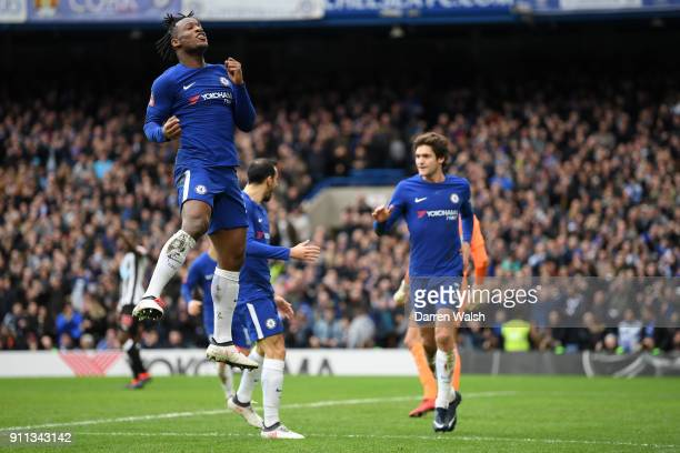 Michy Batshuayi of Chelsea celebrates after scoring his sides first goal during The Emirates FA Cup Fourth Round match between Chelsea and Newcastle...