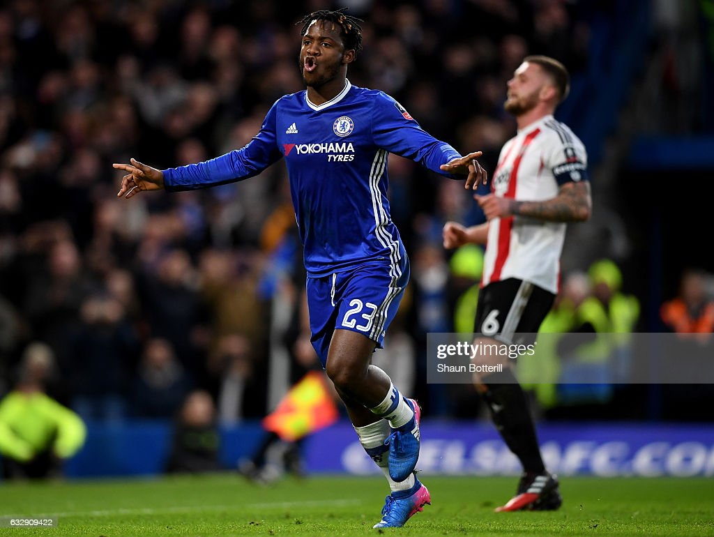 Michy Batshuayi of Chelsea celebrates after scoring his sides fourth goal during the Emirates FA Cup Fourth Round match between Chelsea and Brentford at Stamford Bridge on January 28, 2017 in London, England.