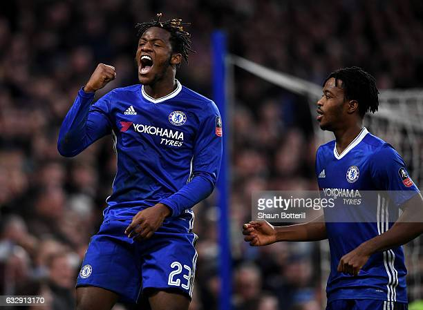 Michy Batshuayi of Chelsea celebrates after scoring his sides fourth goal during the Emirates FA Cup Fourth Round match between Chelsea and Brentford...