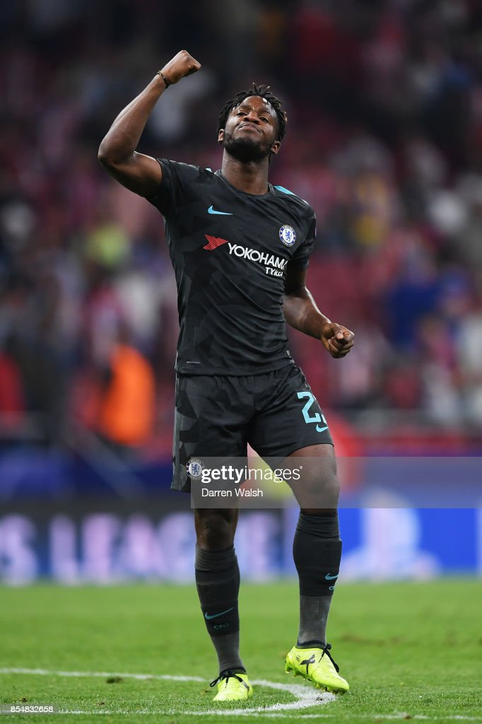 Michy Batshuayi of Chelsea celebrates after scoring his sides second goal during the UEFA Champions League group C match between Atletico Madrid and Chelsea FC at Estadio Wanda Metropolitano on September 27, 2017 in Madrid, Spain.