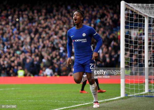 Michy Batshuayi of Chelsea celebrates after scoring his sides second goal during The Emirates FA Cup Fourth Round match between Chelsea and Newcastle...