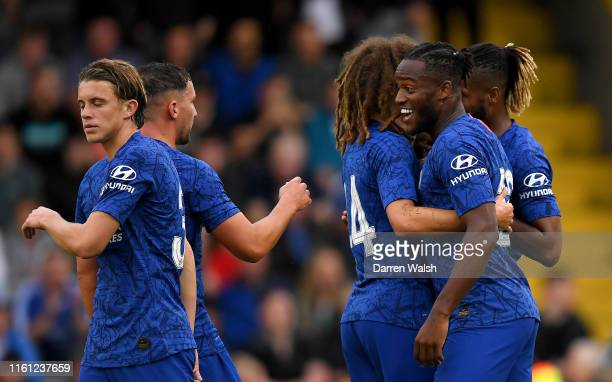 Michy Batshuayi of Chelsea celebrates after scoring his team's first goal with his team mates during the Pre-Season Friendly match between Bohemians...