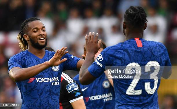 Michy Batshuayi of Chelsea celebrates after scoring his team's first goal with Kasey Palmer of Chelsea during the Pre-Season Friendly match between...