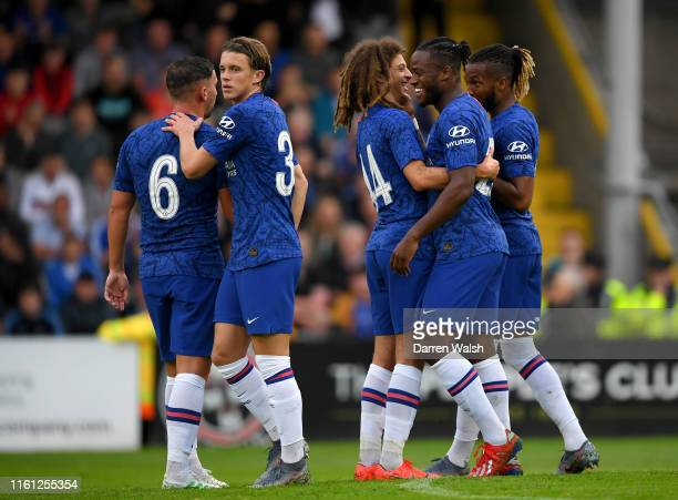 Michy Batshuayi of Chelsea celebrates after scoring his team's first goal with his team mates during the PreSeason Friendly match between Bohemians...