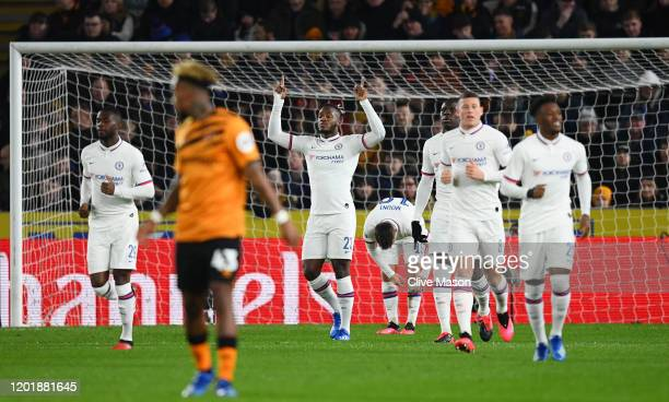 Michy Batshuayi of Chelsea celebrates after scoring his team's first goal during the FA Cup Fourth Round match between Hull City FC and Chelsea FC at...
