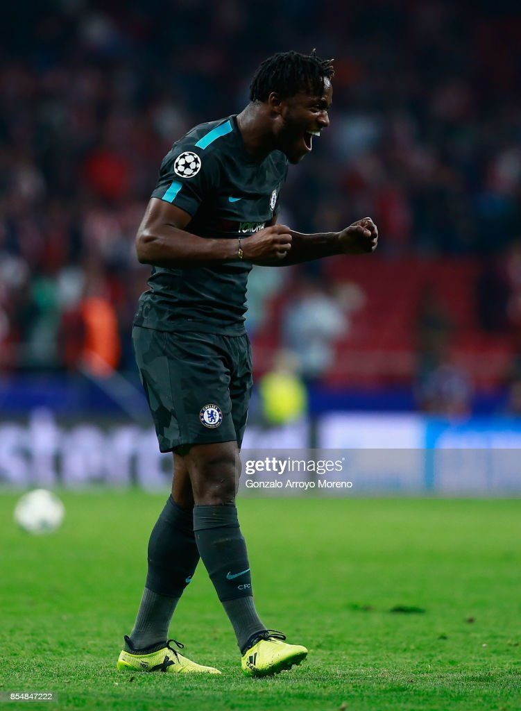 Michy Batshuayi of Chelsea celebrates during the UEFA Champions League group C match between Atletico Madrid and Chelsea FC at Estadio Wanda Metropolitano on September 27, 2017 in Madrid, Spain.