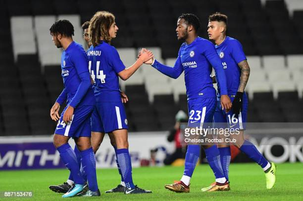 Michy Batshuayi of Chelsea celebrates his second goal during the Second Round Checkatrade Trophy Match between MK Dons and Chelsea FC at StadiumMK on...