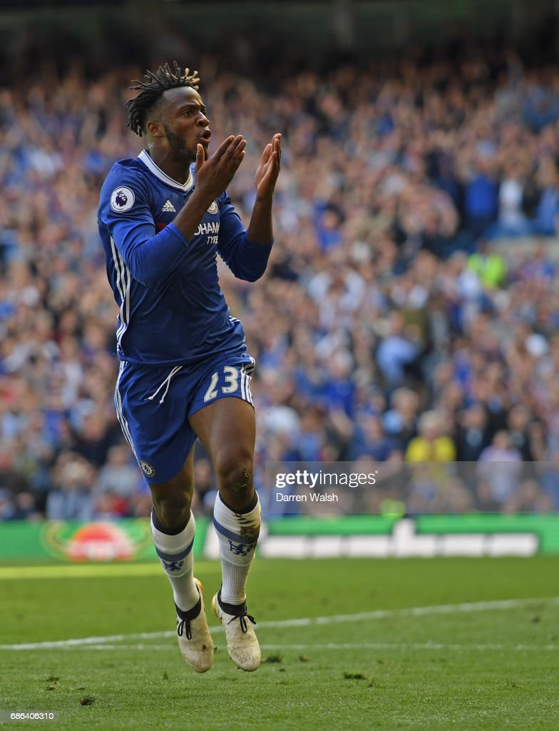 Michy Batshuayi of Chelsea celebrates scoring a goal during the Premier League match between Chelsea and Sunderland at Stamford Bridge on May 21, 2017 in London, England.