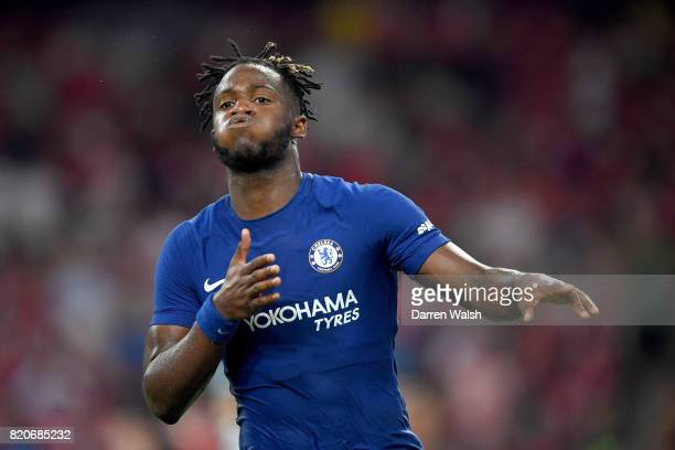 Michy Batshuayi of Chelsea celebrates scoring a goal during the PreSeason Friendly match between Arsenal FC and Chelsea FC at Birds Nest on July 22...
