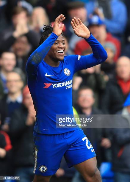 Michy Batshuayi of Chelsea celebrates scoring his 2nd goal during the FA Cup 4th Round match between Chelsea and Newcastle United at Stamford Bridge...