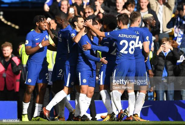 Michy Batshuayi of Chelsea celebrates scoring his second goal Chelsea's fourth with team mates during the Premier League match between Chelsea and...
